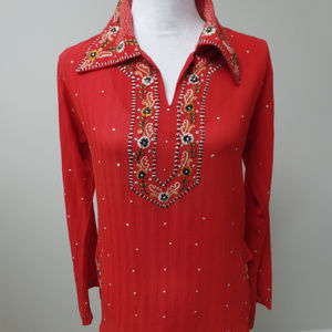 Women's Embroidered Top Tunic LS Red S